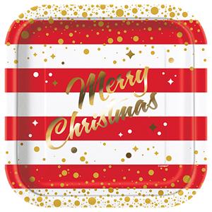 Pratos Merry Christmas Riscas em Papel , 22 Cm, 8 unid.