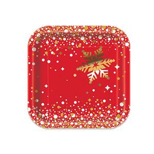 Pratos Merry Christmas Vermelhos em Papel, 17 Cm, 8 unid.