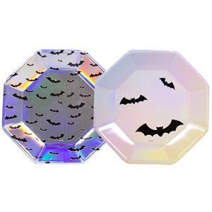 Pratos Morcegos Iridescente e Pastel, 23 cm, 6 unid.