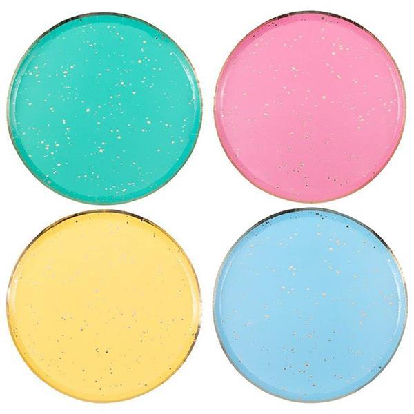 Pratos Multicolor com Rebordo Dourado, 24 cm, 8 unid.