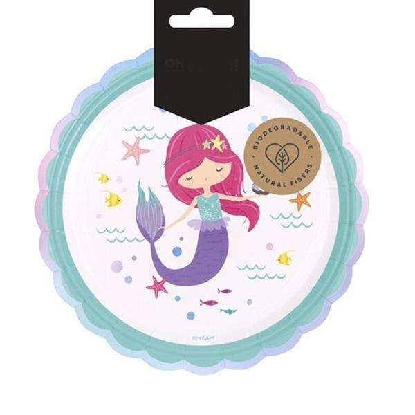 Pratos Ondas Let´s Be Mermaid, 17 cm, 8 unid.