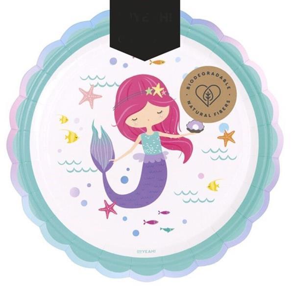 Pratos Ondas Let´s Be Mermaid, 23 cm, 6 unid.