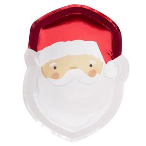 Pratos Pai Natal, 29 Cm, 8 Unid.