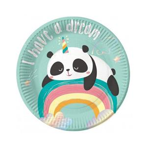 Pratos Panda Arco-íris, 18 cm, 6 unid.