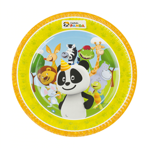 Pratos Panda em Papel, 23 Cm, 8 unid.