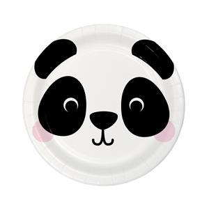Pratos Panda Face, 18 cm, 8 unid.