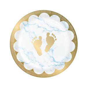 Pratos Pezinhos Baby Boy Azul, 18 cm, 8 unid.