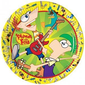 Pratos Phineas & Ferb, 23 cm, 10 unid.