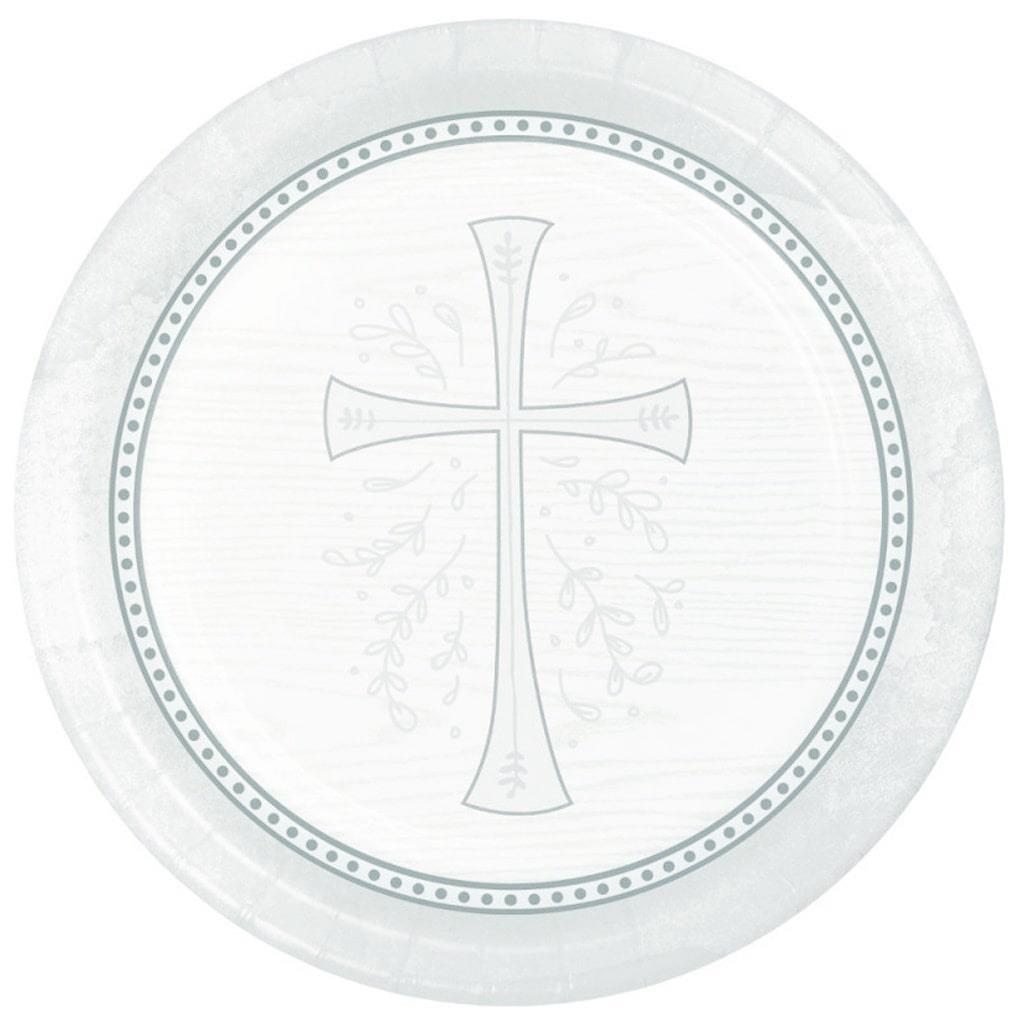 Pratos Primeira Comunhão Prateado, 23 cm, 8 unid.