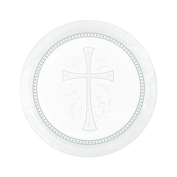 Pratos Primeira Comunhão Prateado, 18 cm, 8 unid.