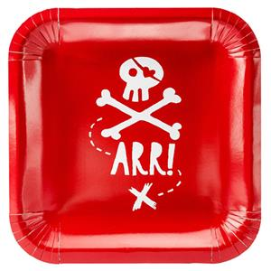 Pratos Quadrados Piratas Party Vermelhos, 20 cm, 6 unid.