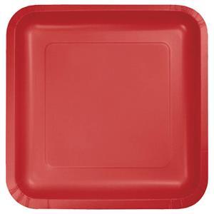 Pratos Quadrados Vermelho, 14 un