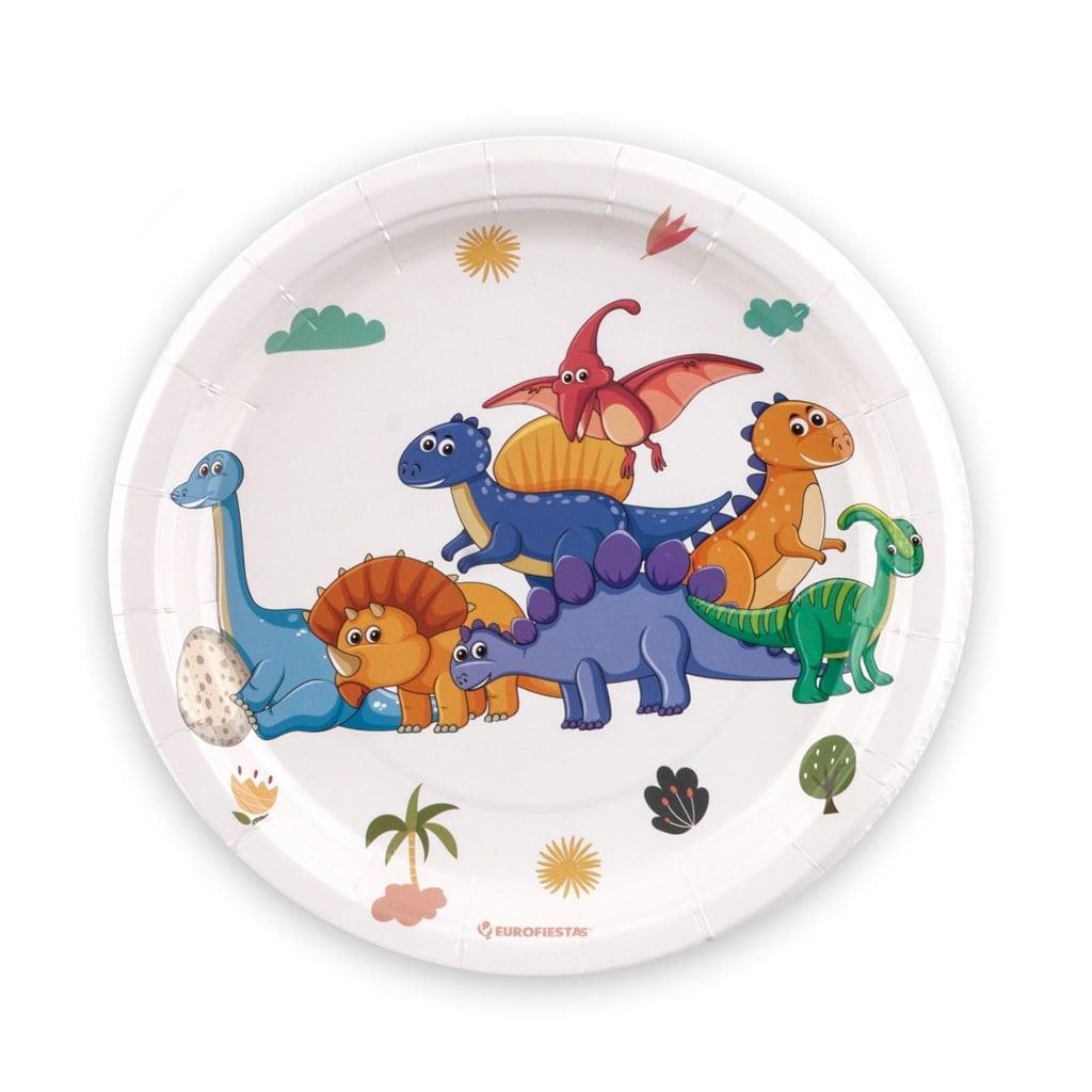 Pratos Reino dos Dinossauros, 18 cm, 8 unid.