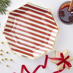 Pratos Riscas Vermelhas com Rebordo Dourado, 23 cm, 8 unid.