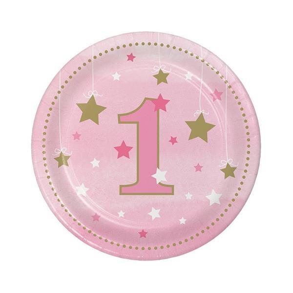 Pratos Rosa 1º Aniversário Pequena Estrela, 18 cm, 8 unid.