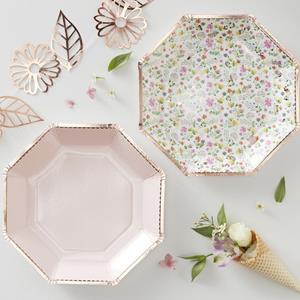 Pratos Rosa e Florais com Rebordo Rosa Gold, 23 cm, 8 unid.