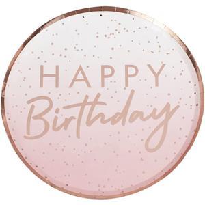 Pratos Rosa Gold Ombre Happy Birthday, 23 cm, 8 unid.
