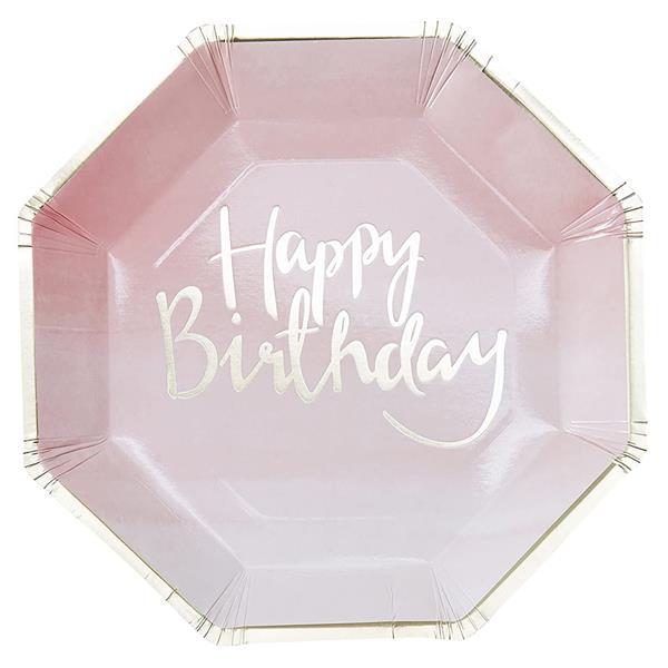 Pratos Rosa Happy Birthday, 23 cm, 8 unid.