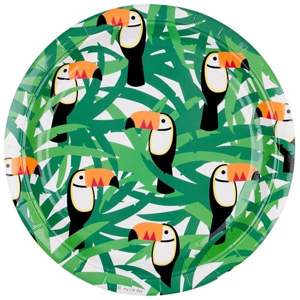 Pratos Tucanos Tropicais, 23 cm, 8 unid.