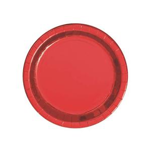 Pratos Vermelhos Metalizados, 8 Unid.