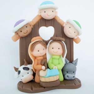 Presépio de Natal na Cabana em Biscuit, 13 cm