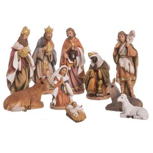 Presépio de Natal, Poliresina, 10 Figuras, 21 Cm