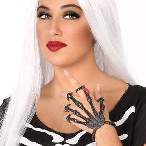 Pulseira Mão Esqueleto com Aneis em Metal