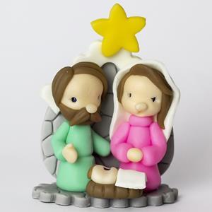 Sagrada Família de Natal em Biscuit, 9 cm