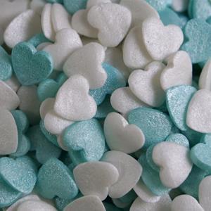 Sprinkles Comestíveis Corações Azul Claro e Branco, 55 gr.