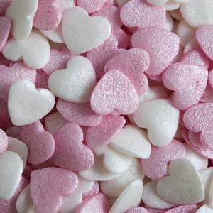 Sprinkles Comestíveis Corações Rosa Claro e Branco, 55 gr.