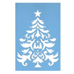 Stencil Árvore de Natal com Presépio, 20x30 Cm