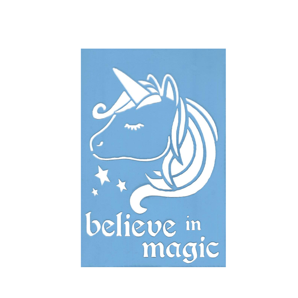 Stencil Unicórnio Believe in Magic, 10x15 Cm