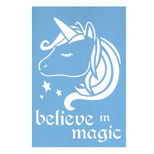 Stencil Unicórnio Believe in Magic, 20x30 Cm
