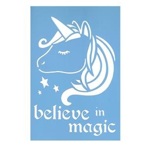 Stencil Unicórnio Believe in Magic, 20x30 Cm