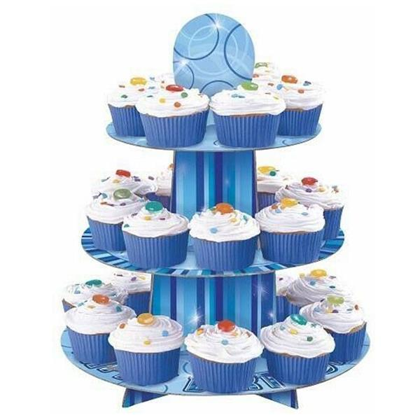 Suporte Cupcakes Azul, 24 unid.