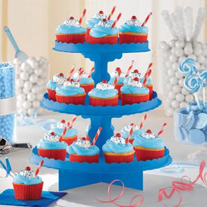 Suporte Cupcakes Azul, 3 andares