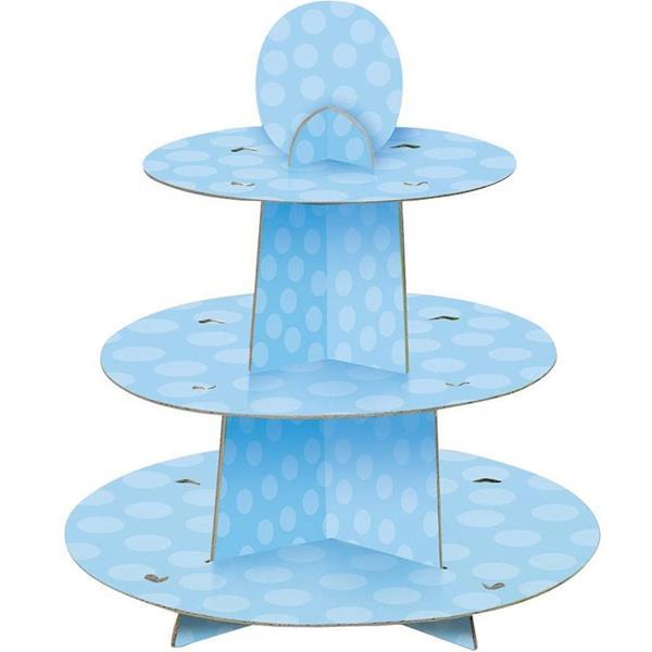 Suporte Cupcakes Azul às Bolinhas, 3 Andares