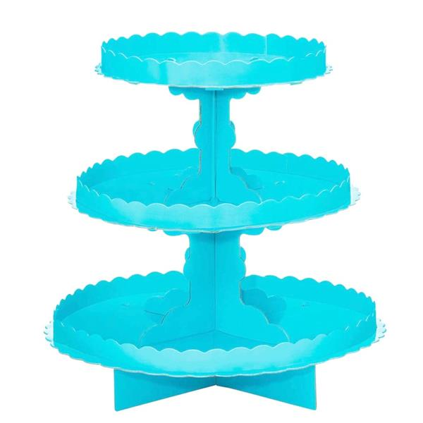 Suporte Cupcakes Azul Claro, 3 andares