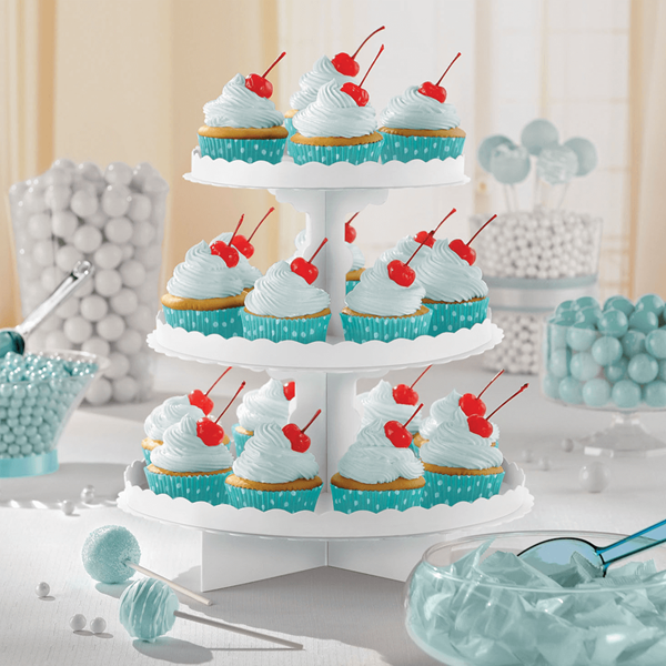 Suporte Cupcakes Branco, 3 Andares