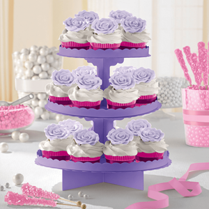 Suporte Cupcakes Lilás, 3 andares
