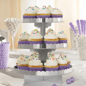 Suporte Cupcakes Metalizado Prateado 3 Andares