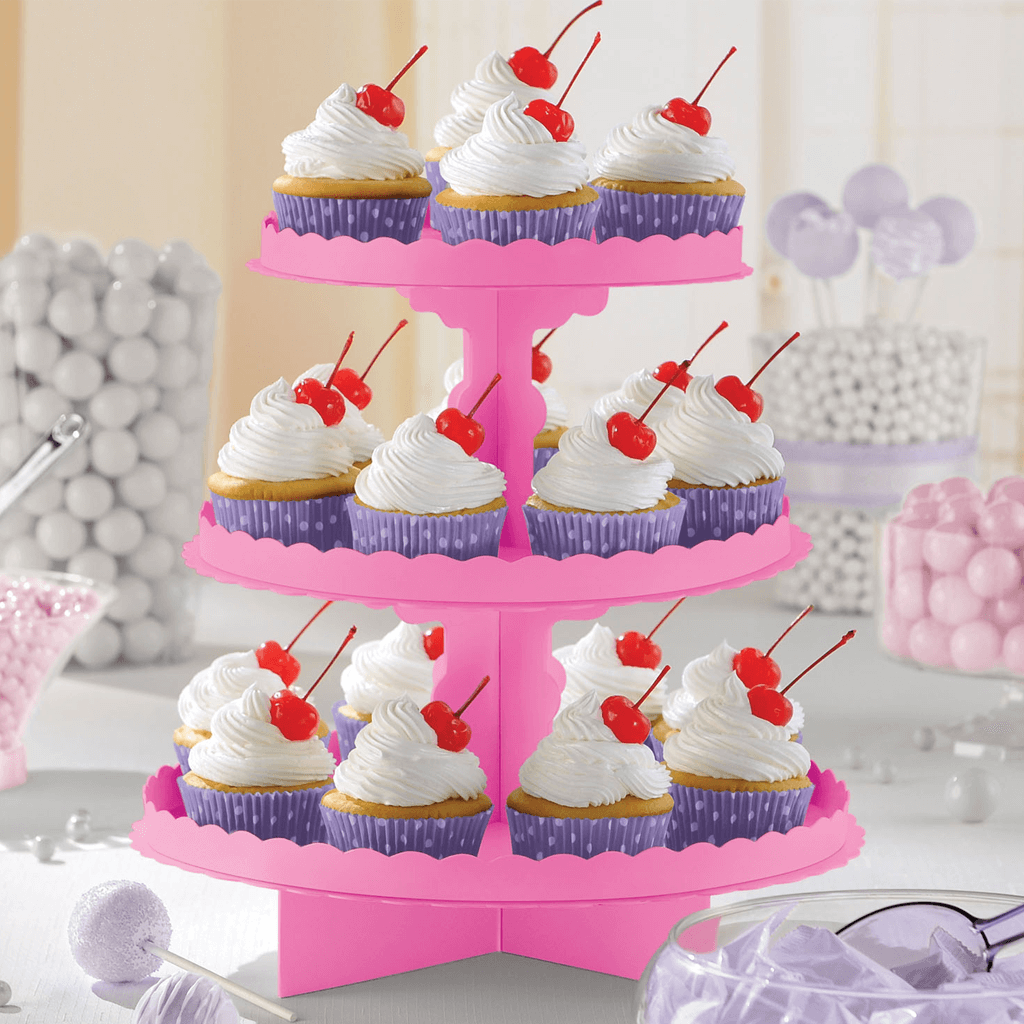Suporte Cupcakes Rosa, 3 Andares