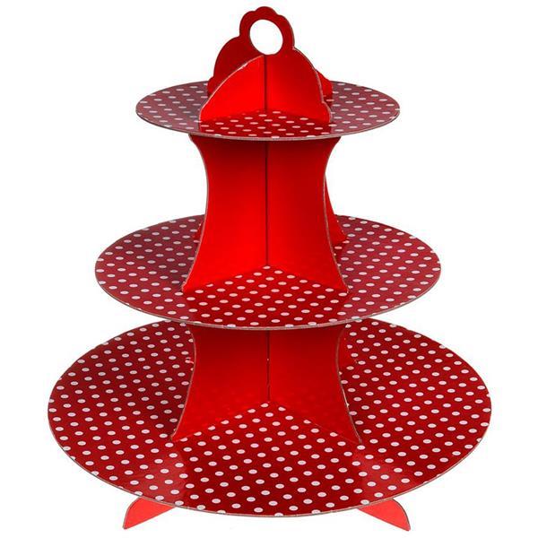 Suporte Cupcakes Vermelho às Bolinhas, 3 andares