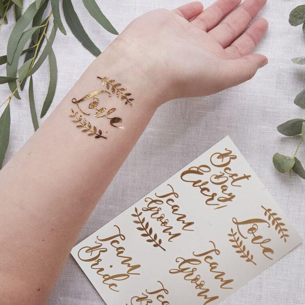Tatuagens Temporárias Casamento Douradas, 12 unid.