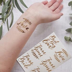 Tatuagens Temporárias Casamento Rosa Gold, 12 unid.