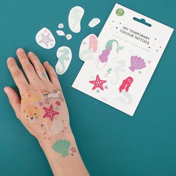 Tatuagens Temporárias Sereia e Animais do Mar