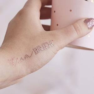 Tatuagens Temporárias Team Bride Rosa Gold, 16 unid.
