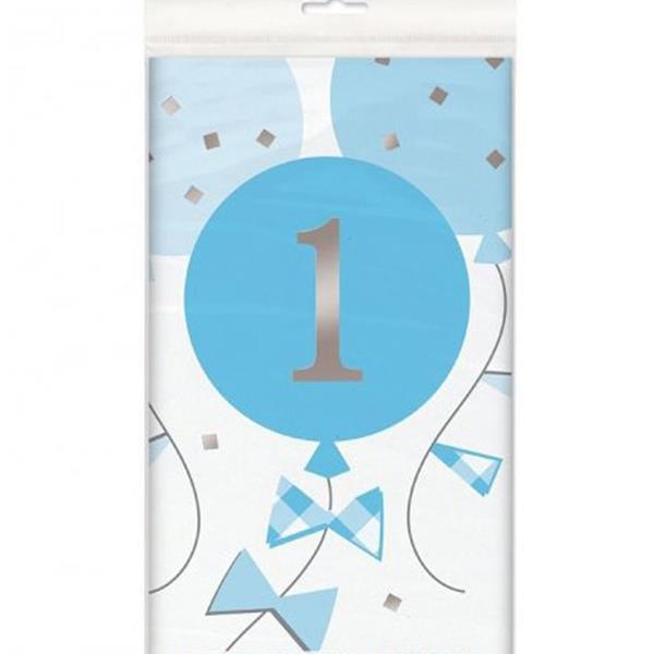 Toalha 1º Aniversário Azul, 1,37 x 2,74 mt