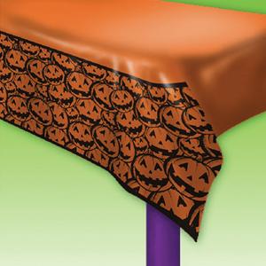 Toalha de Mesa com Abóboras Halloween, em Plástico 274 x 137 Cm