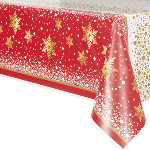 Toalha Merry Christmas Vermelho em Plástico,137 x 213 Cm